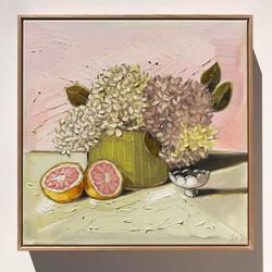 Sam Michelle 'Hydrangeas & Grapefruit' 53x53cm