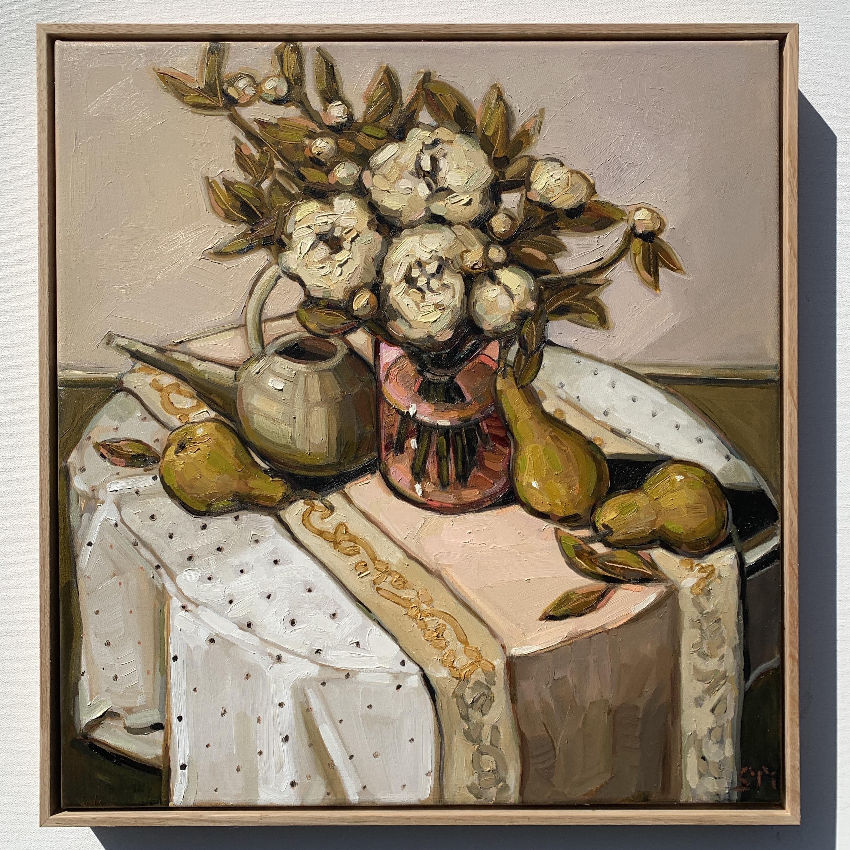 sam michelle 'peonies & pink vase' 58x55
