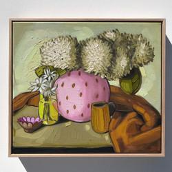 'Pink & Yellow Vase' 45x40cm