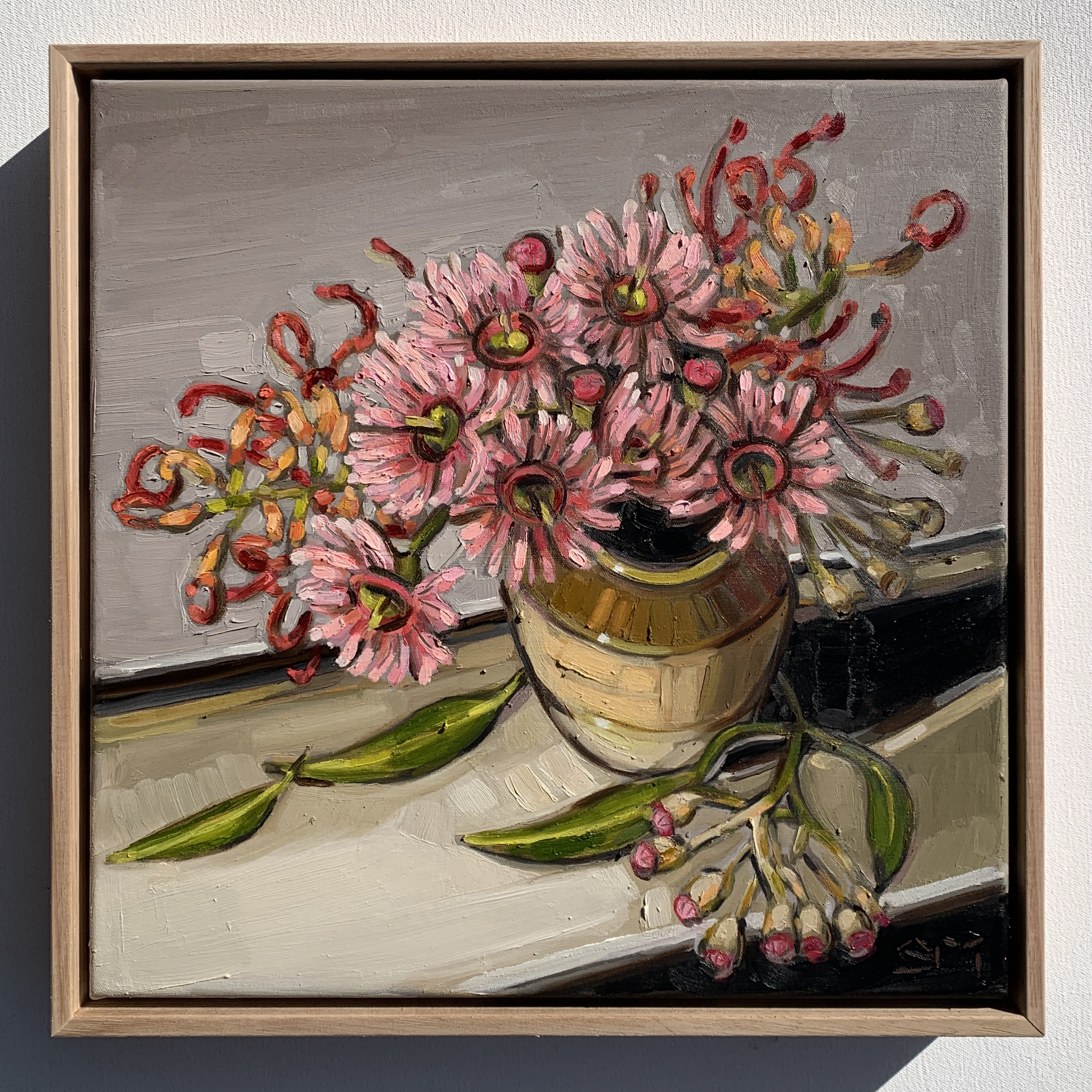 sam michelle 'blossoms & brown vase' 38x