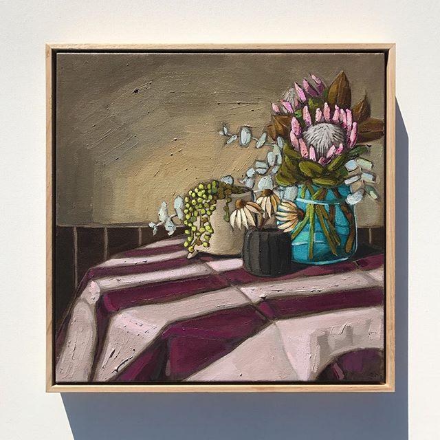 'Purple & Proteas' 53x53cm