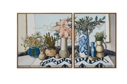 sam michelle 'vases, flowers & shapes' 79x79 & 79x61cm 2021