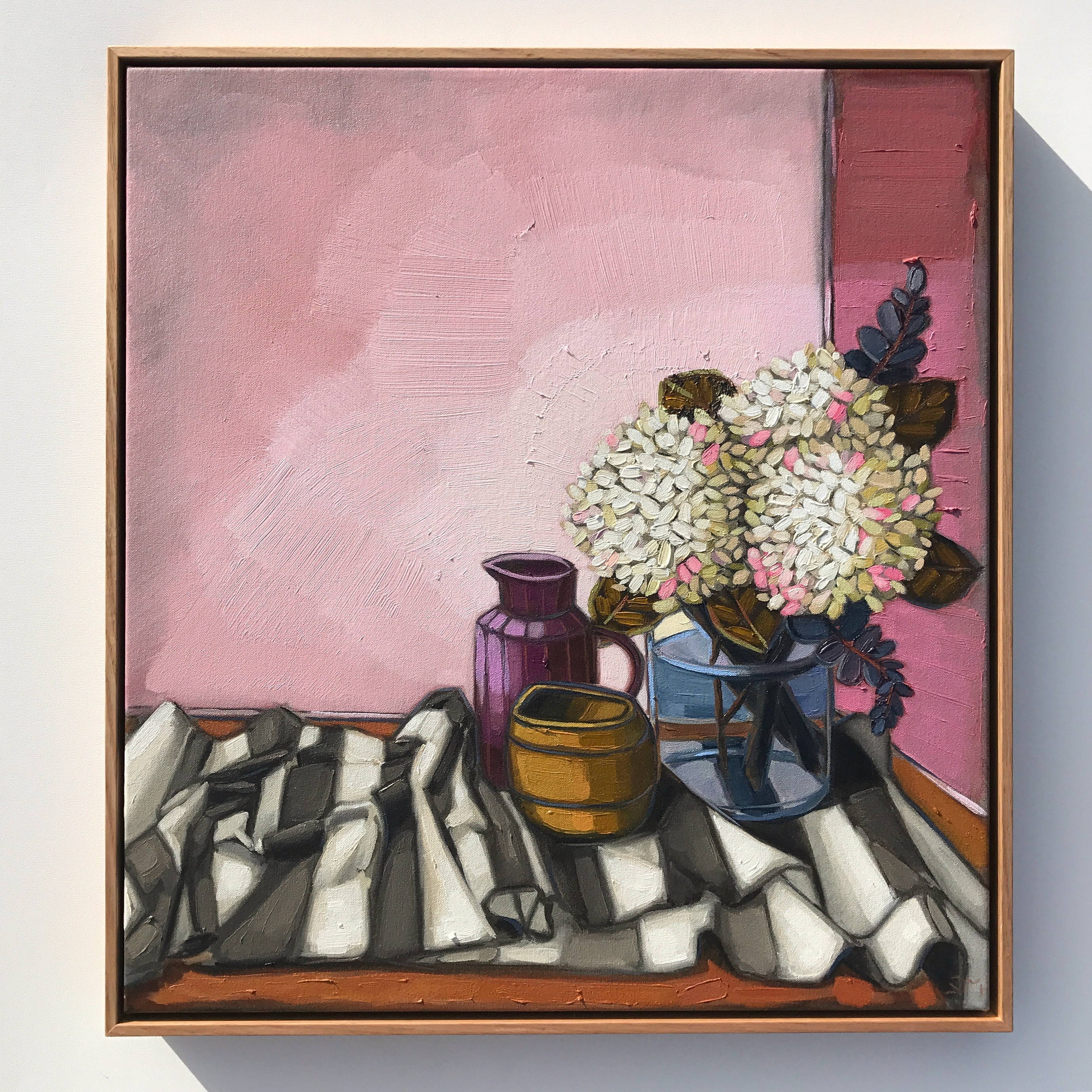08_17 The Cloth Collection 'Hydrangeas & Pinks' 63x58cm $2,395
