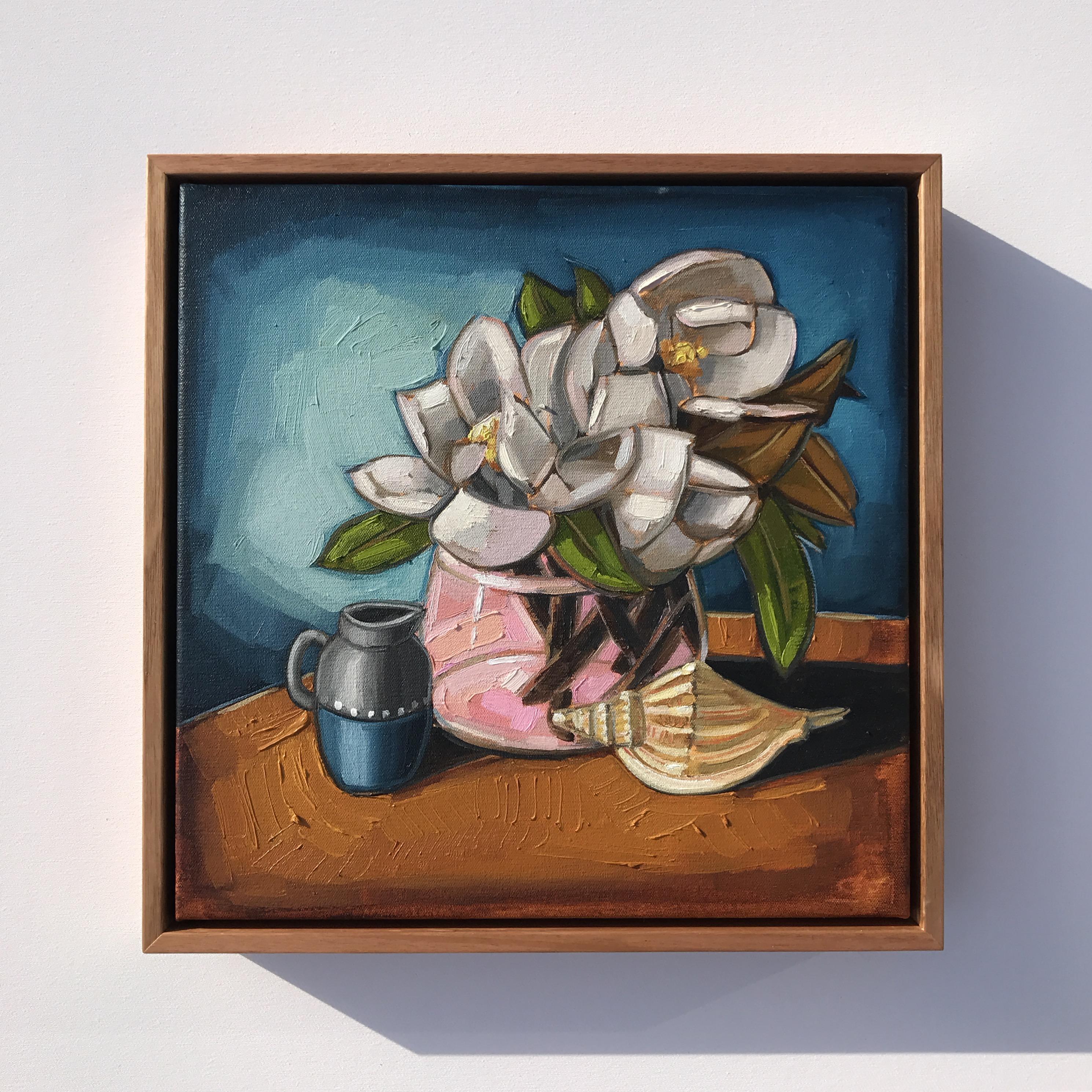 07_17 'Magnolias & Shell' 38x38cm $845