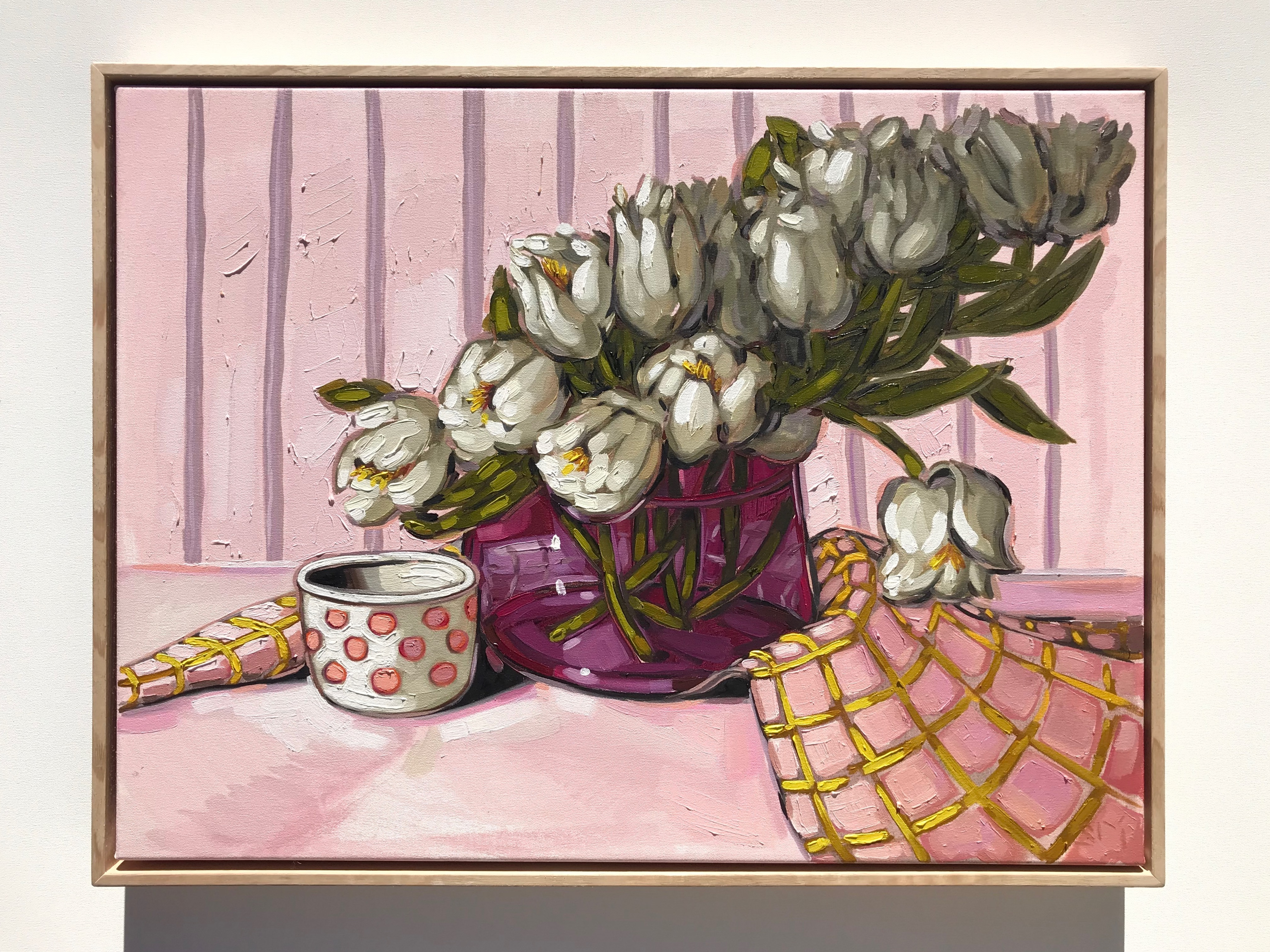 Sam Michelle 'Tulips & Pink' 49x64cm