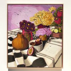 Sam Michelle 'Passionfruit & Purple' 78x67cm