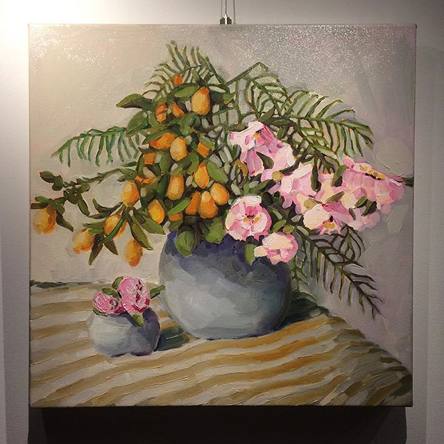 Instagram - Today's effort with some beach towel stripes! #vase #flowers #peonies #stilllife #oilpai