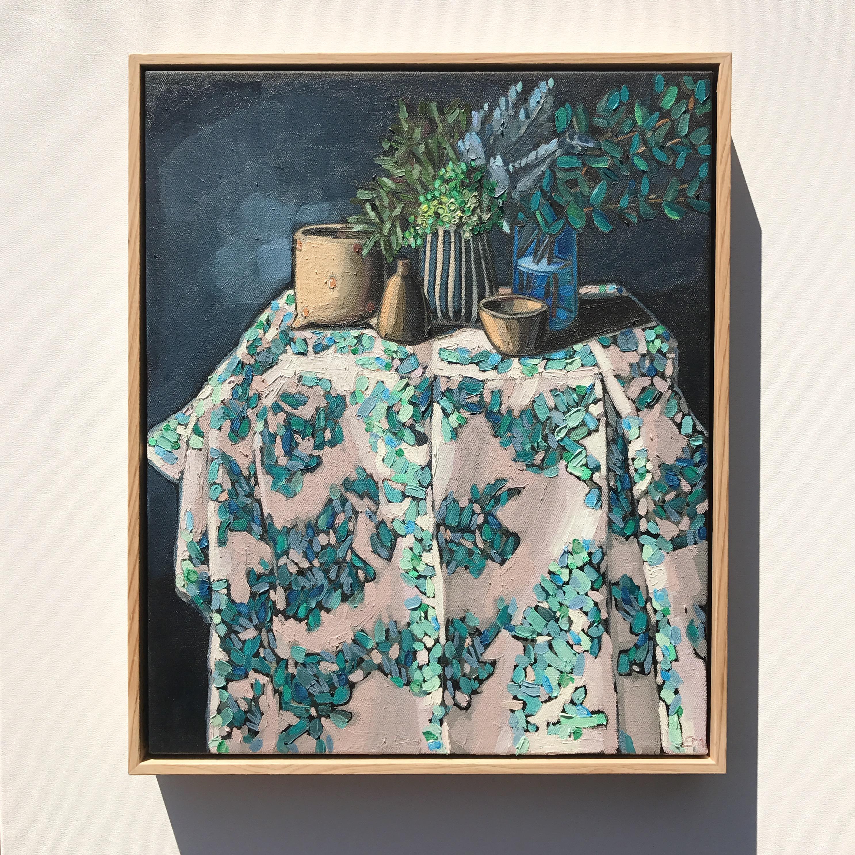 'Turquoise & Cloth' 59x49cm $1,295