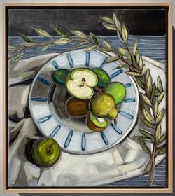 sam michelle 'feijoa, kiwifruit & apples' 48x43cm