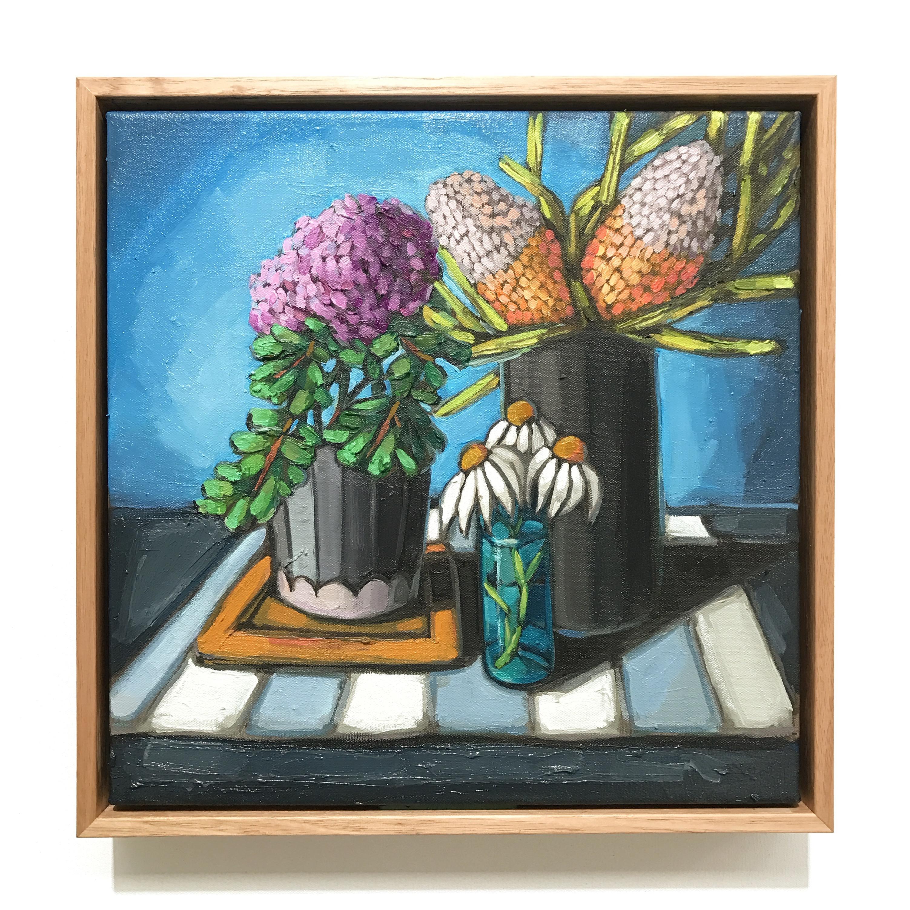 06_17 Chrysanthemum & Banksia (38x38cm) $795