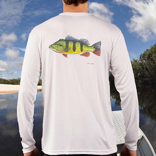 JEFF CURRIER Signature Peacock Bass Solar Long Sleeve Shirt