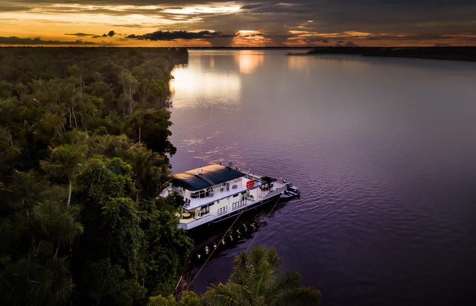 Brazilian Amazon River Fishing drone view
