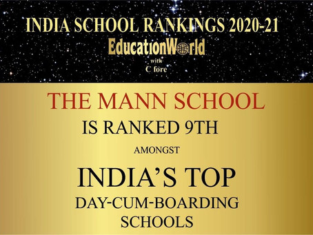 The Education World All India School Survey 2020 has ranked the Mann School.........
