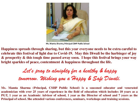 Diwali Greetings from Ms Mamta Sharma, Principal, CSHP Public School