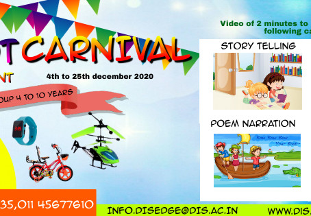 Last Date Has been extended for participation in Tiny Tot Kids Carnival organised by DIS Edge Dwarka