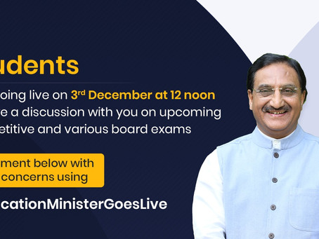 Dr. Ramesh Pokhriyal will be live on Thursday 3rd December 2020 to discuss Upcoming Competition.....