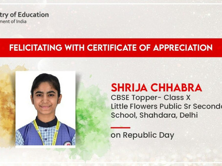 Class X CBSE topper, Shrijja Chhabra from Little Flowers Group Of Schools has received an...