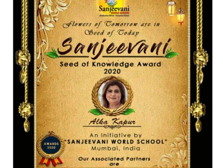 Mrs Alka Kapur has won the prestigious Sanjeevani Seed of Knowledge Award 2020