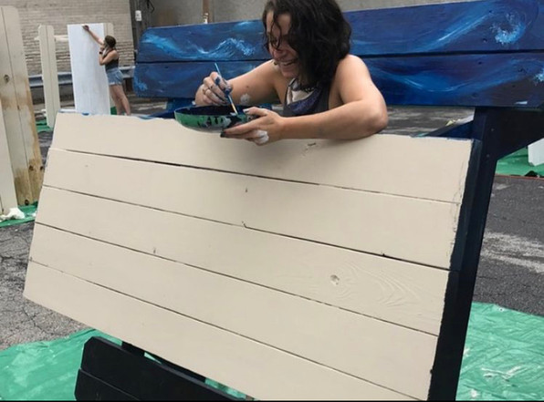 cutesy painting the underside and edges of the picnic table