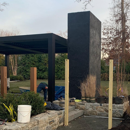 3 Story Outdoor Fireplace in Black