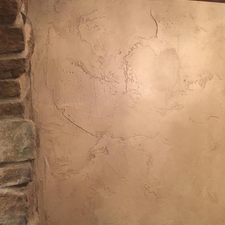 Textured & Antiqued Basement Walls