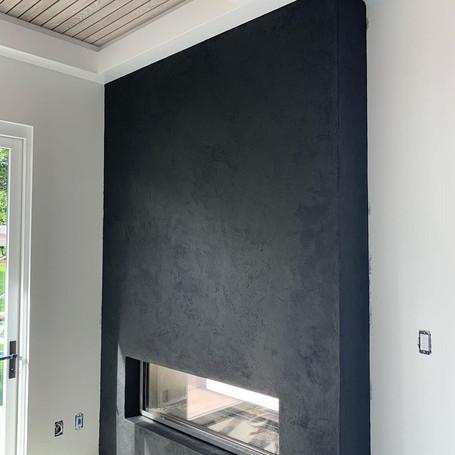 Black Indoor/Outdoor Fireplace