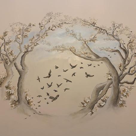 Accent Foyer Mural with Custom Birds