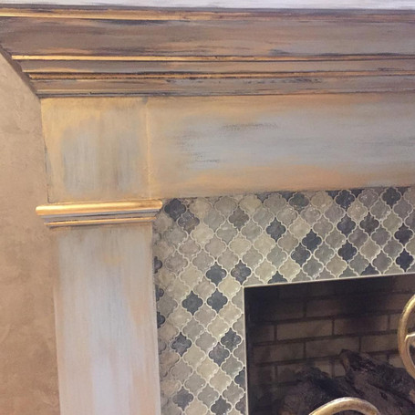 Distressed Blue & Gold Fireplace