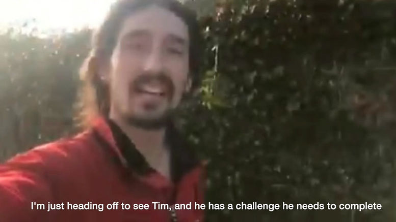 Adam 'Tango' Holland supports Tim to achieve a faster running time.