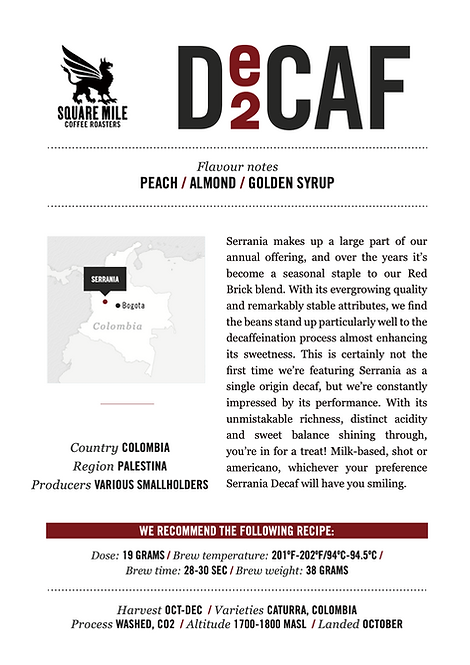 SQUARE MILE's (Decaf Espresso - Colombia) Coffee Beans