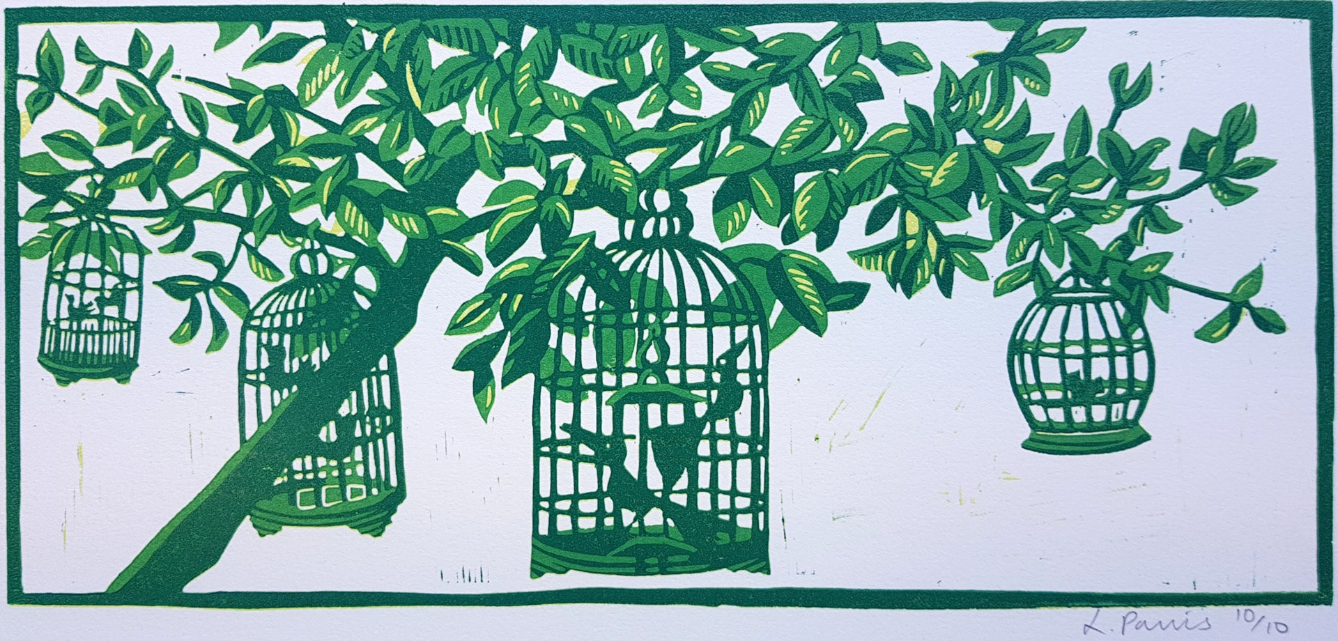 Birdcages hanging in tree