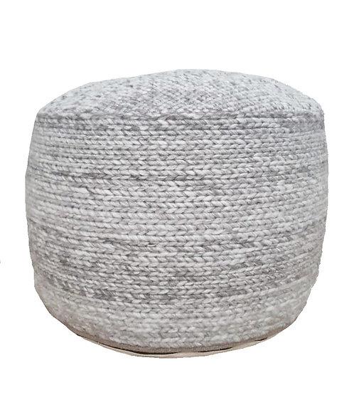 Grey Braided Pouf