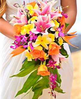 Cascading tropical bridal bouquet with yellow plumeria and Stargazer
