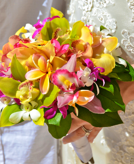 Colorful tropical bridal bouquet