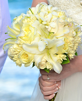 White lilies, white roses and tuberose bouquet