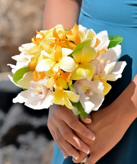 Plumeria and yellow orchid bridal bouquet