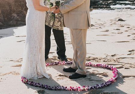 Maui wedding lei circle on the beach