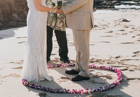 Maui wedding lei circle on the beach