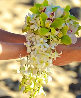 Green cymbidium cascading bridal bouquet