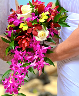 Red mokara, white rose and purple orchid bouquet