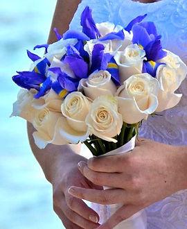 Blue iris and cream rose bridal  bouquet