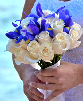 Blue iris and cream rose bridal  bouquet