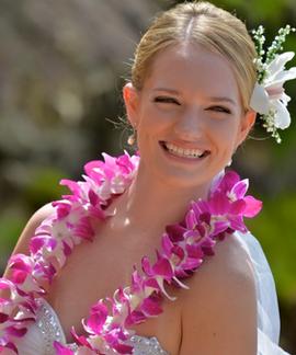 Hawaiian wedding leis of purple orchids