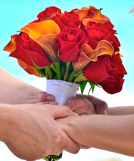 Red rose and orange calla lily bridal bouquet