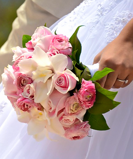 Pink rose with white cymbidium orchid bridal bouquet