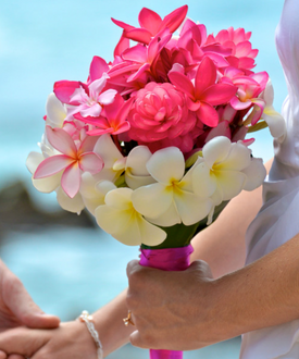 Pink ginger and plumeria bouquet