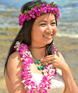Double-stranded purple orchid leis