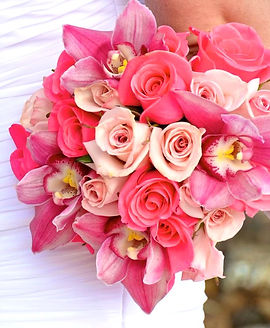 Pink roses and pink cymbidiums bridal bouquet