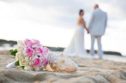 Bridal bouquet on the beach