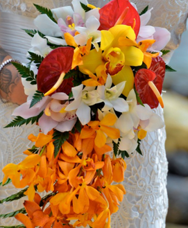 Orange mokara and mixed orchids, bridal bouquet